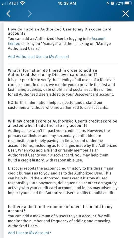 Authorized users for Discover Card